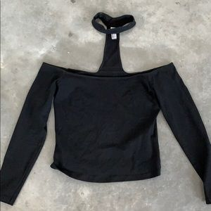 American Apparel Mid-Length Choker Top Black L